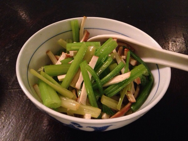 Savory Tofu with Celery Shoots