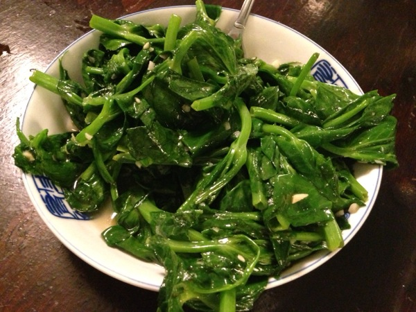 Snow Pea Shoots with Garlic
