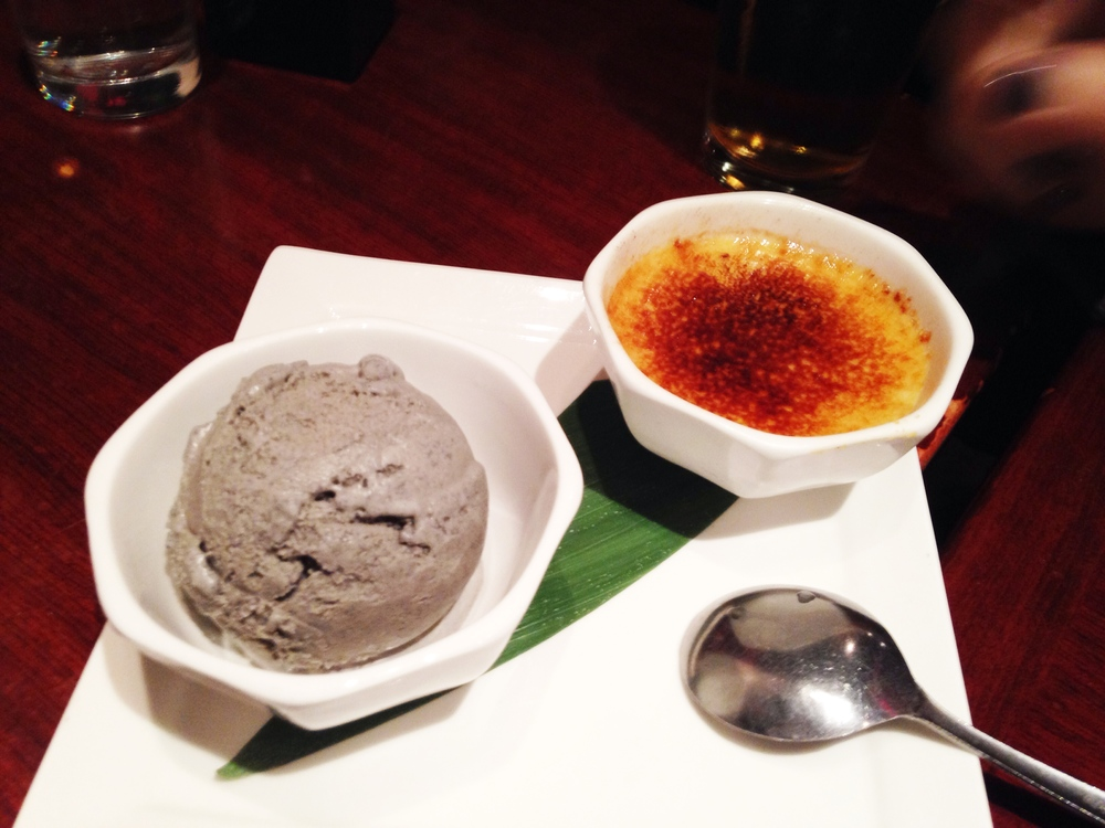 Creme Brulee and Black Sesame Ice Cream