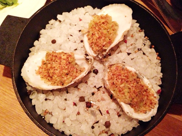 Baked Oysters (5 per order...but we couldn't wait!)