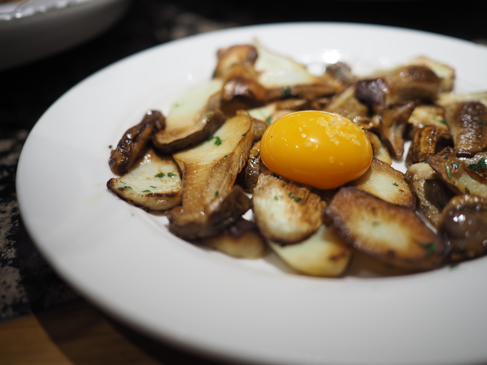 Wild Mushrooms and Egg Yolk at Ganbara