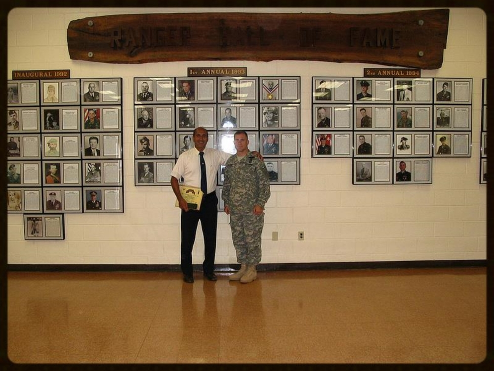 Friday, May 5, 2006. With Major Eric Flesh when I was invited as guest speaker for the US Army Reconnaissance and Surveillance Leaders Course, Ranger Training Brigade, Fort Benning, Georgia.