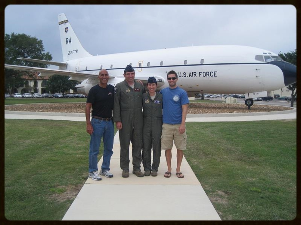 Monday, May 6, 2013. With my son-in-law and daughter, Instructor Pilots, Captains Craig and Catherine Christ, and my son, Bobby Ankony, Boeing Defense, Space & Security engineer. Randolf Air Force Base, Texas.