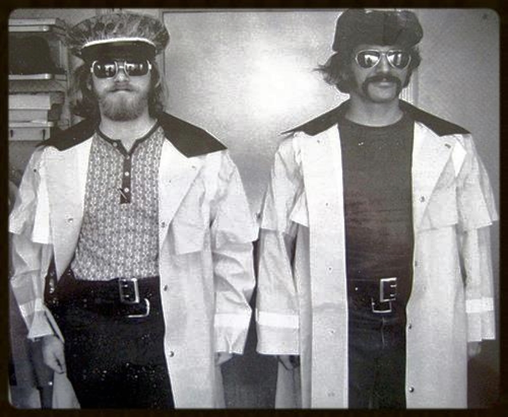 Wednesday, November 22, 1972. Michael Geldmacher and me horsing around in our Narcotics Bureau with winter gear we were issued in spite of our undercover assignments.