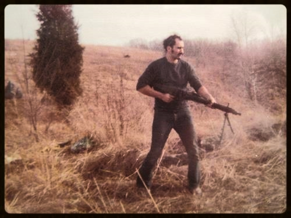 "Saturday, February 10, 1973. Clearing the woods of rabbits with a German 8mm MG42 General-purpose  machine gun , ""Hitler's Buzz Saw"" that fired 20 rounds per second."