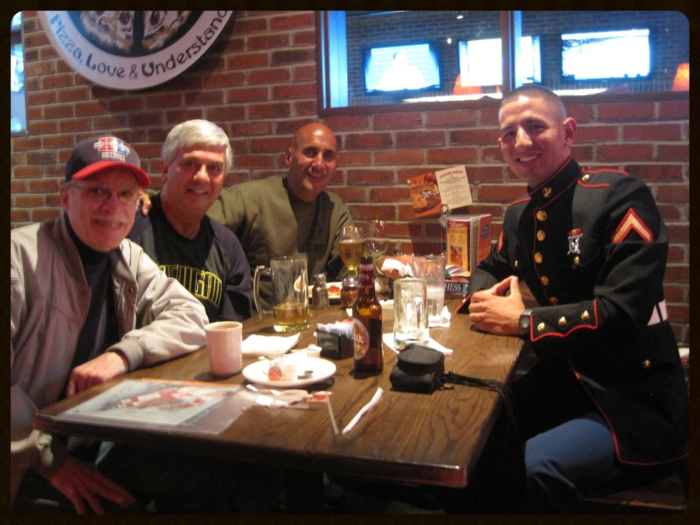 Tuesday, October 5, 2010. At Old Chicago with my son, Mike, and lifelong friends, Mike Kozel and Tom Howard.
