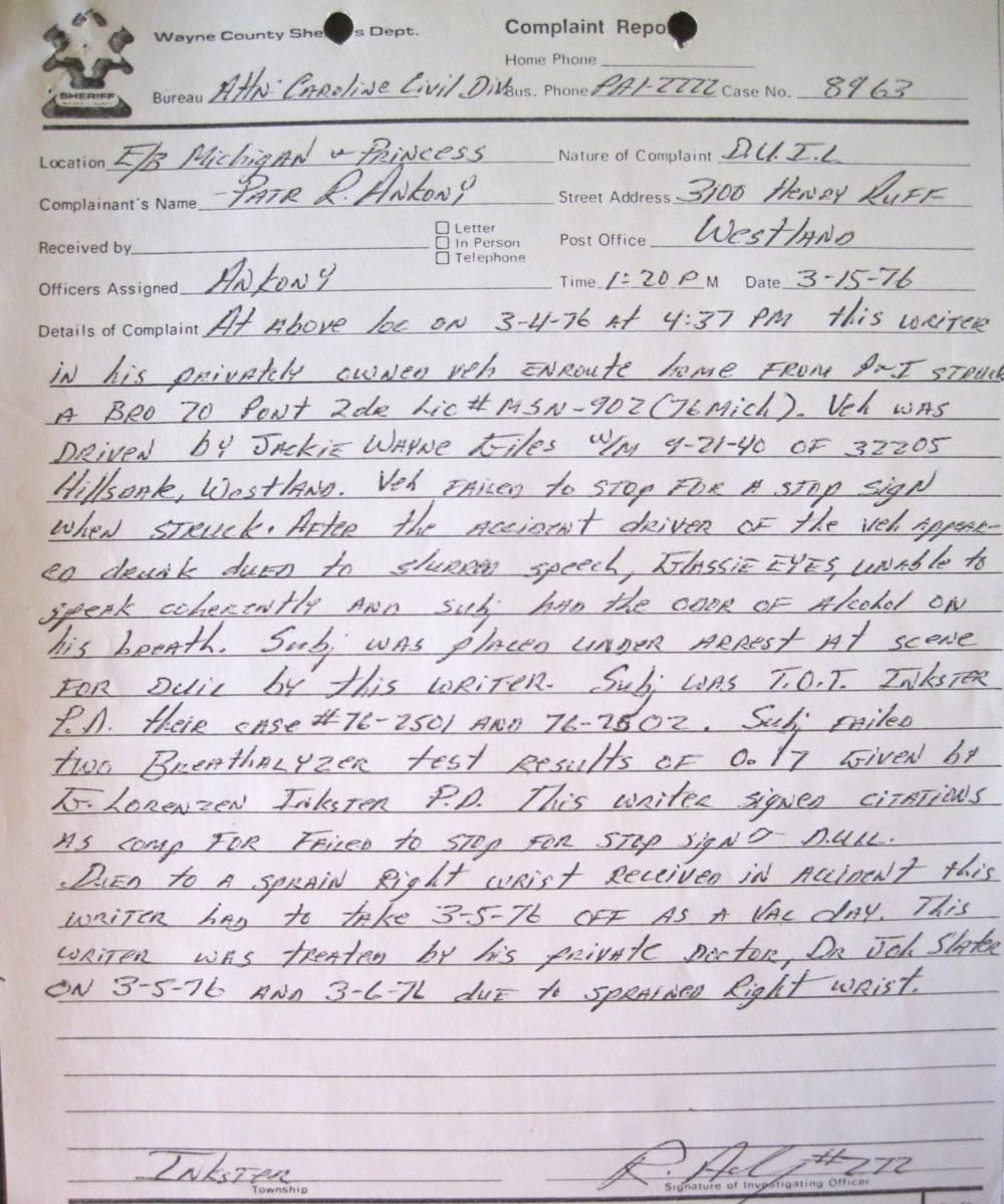 My follow up arrest report