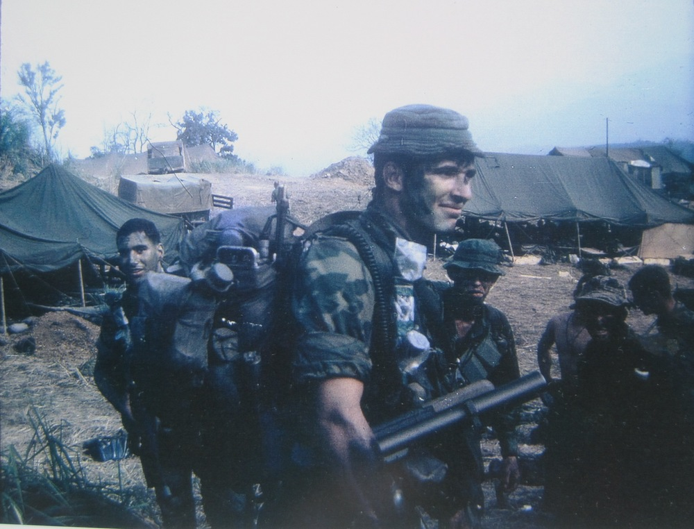 Sunday evening, April 7, 1968. En route to our Khe Sanh patrol. Sgt. Doug Parkinson center, Bruce Cain right,  Bob Whitten  far right (KIA 5/8/68), and me left