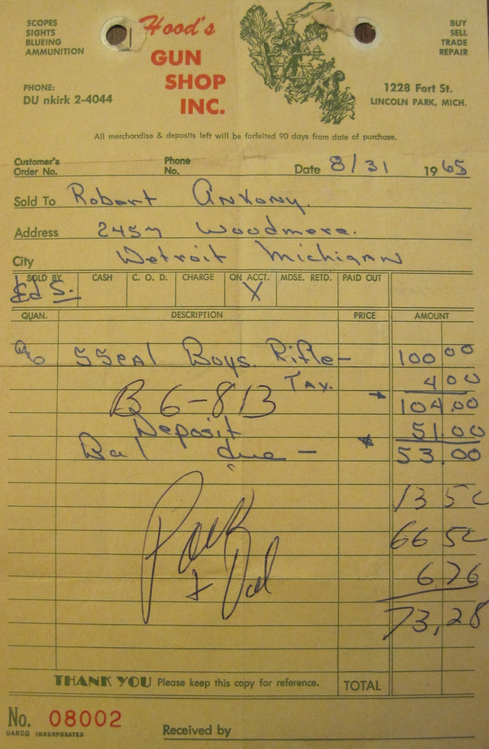 Tuesday, August 31, 1965, my bazooka receipt