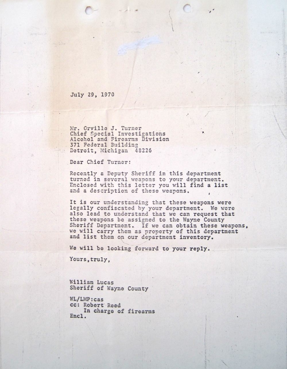 Wednesday, July 29, 1970, Sheriff Lucas' letter