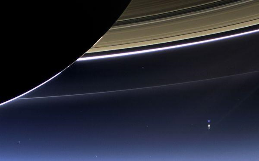 Pale Blue Dot of Earth as seen from Saturn
