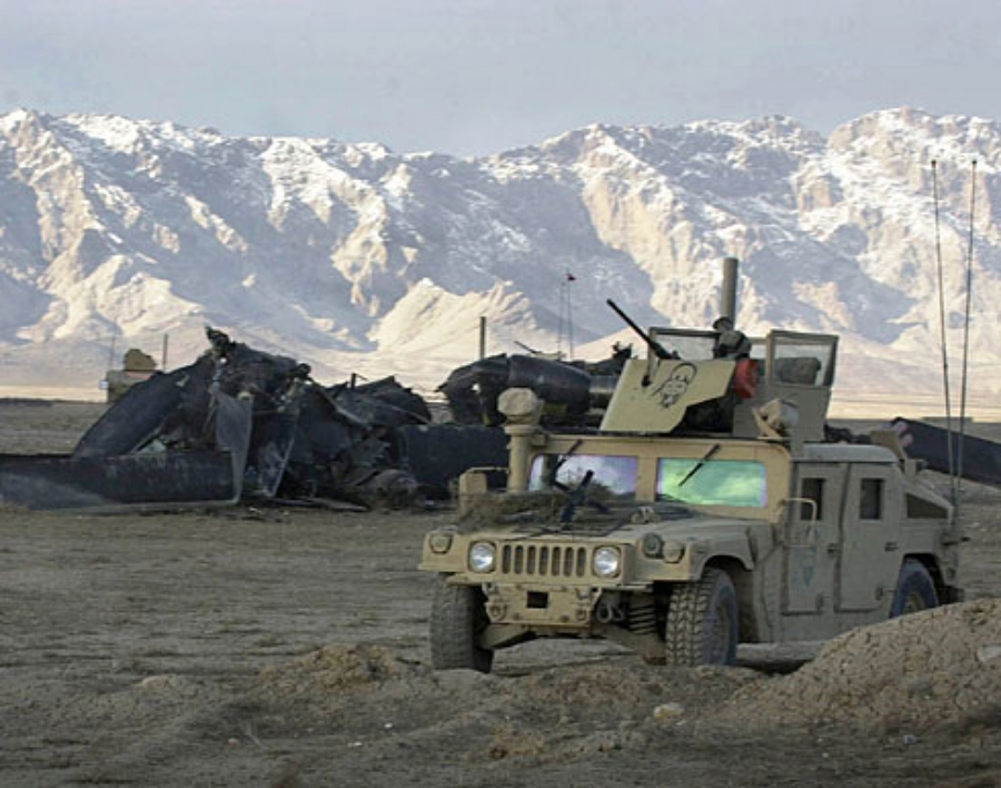 The crash site in Afghanistan
