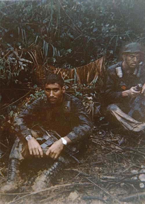 September 4, 1968. My RTO, Cpl. Ward, and me. In my hands is the hat I later gave to Tony to wear for luck