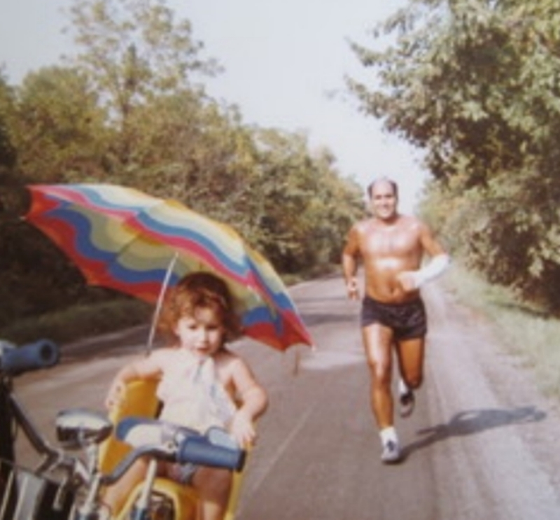 Grosse Ile, with his daughter, Catherine, 1982