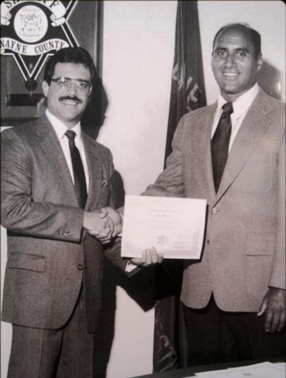 November 9, 1984. Sheriff Robert Ficano and me when I retired