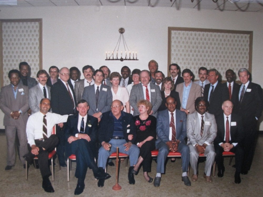 August 18, 1989. Reunion with former Metro Squad commanders, undercover officers, and DEA agents. I'm seated left. The toilet plunger in front signified that we cleaned our cities' sewers