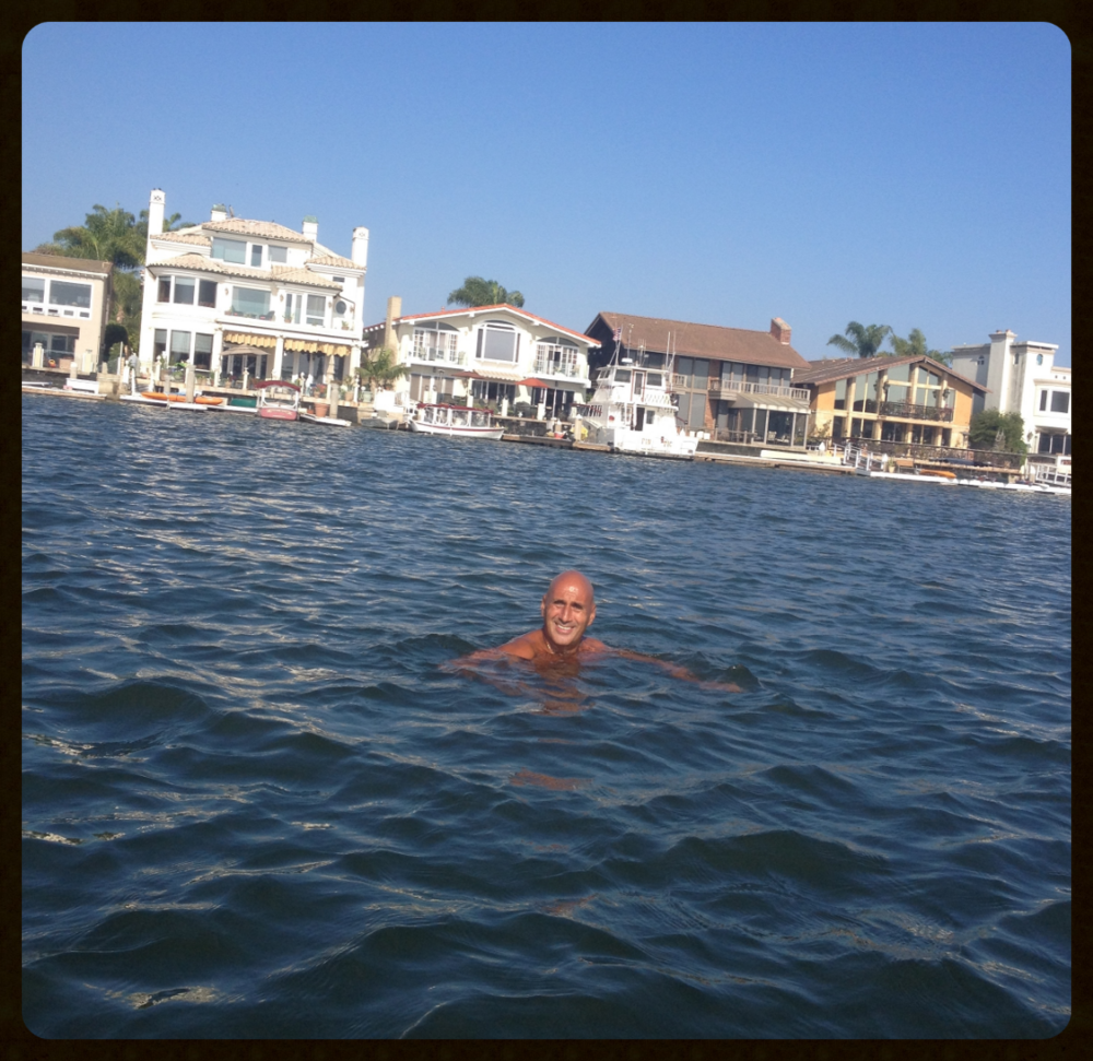 Thursday, September 24, 2015, swimming in Huntington Harbour, Huntington Beach, California.