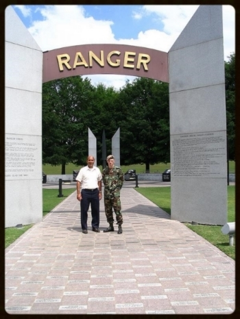 Same date, SSG Matthew Bogar and me at the Ranger Memorial, Fort Benning, Georgia.