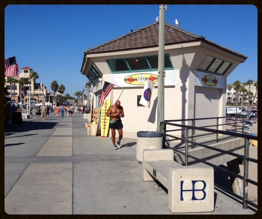 Sunday, September 13, 2015. Huntington Beach Pier, California, taking a break at the turn around point on my 14 mile run.
