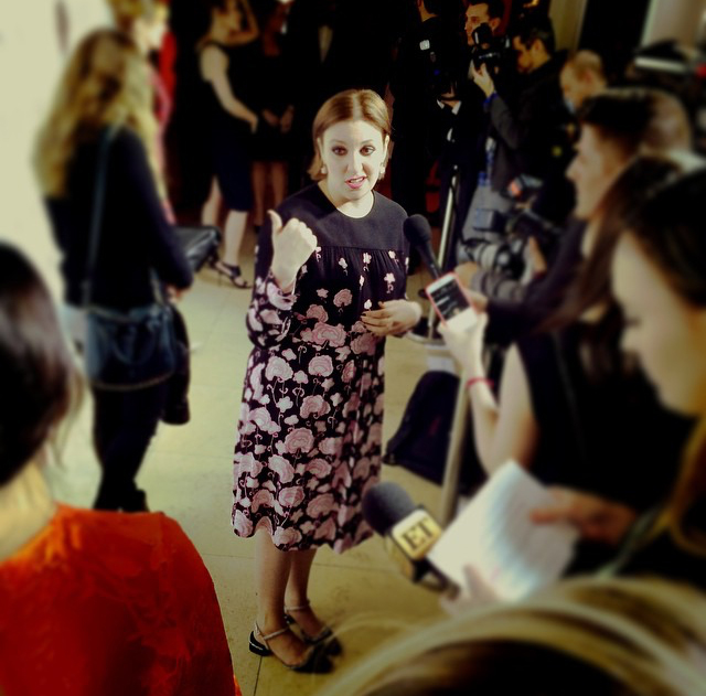 Lena being Lena. <3 The Elle Magazine Februarycovergirl looked fab in a Prada dress.
