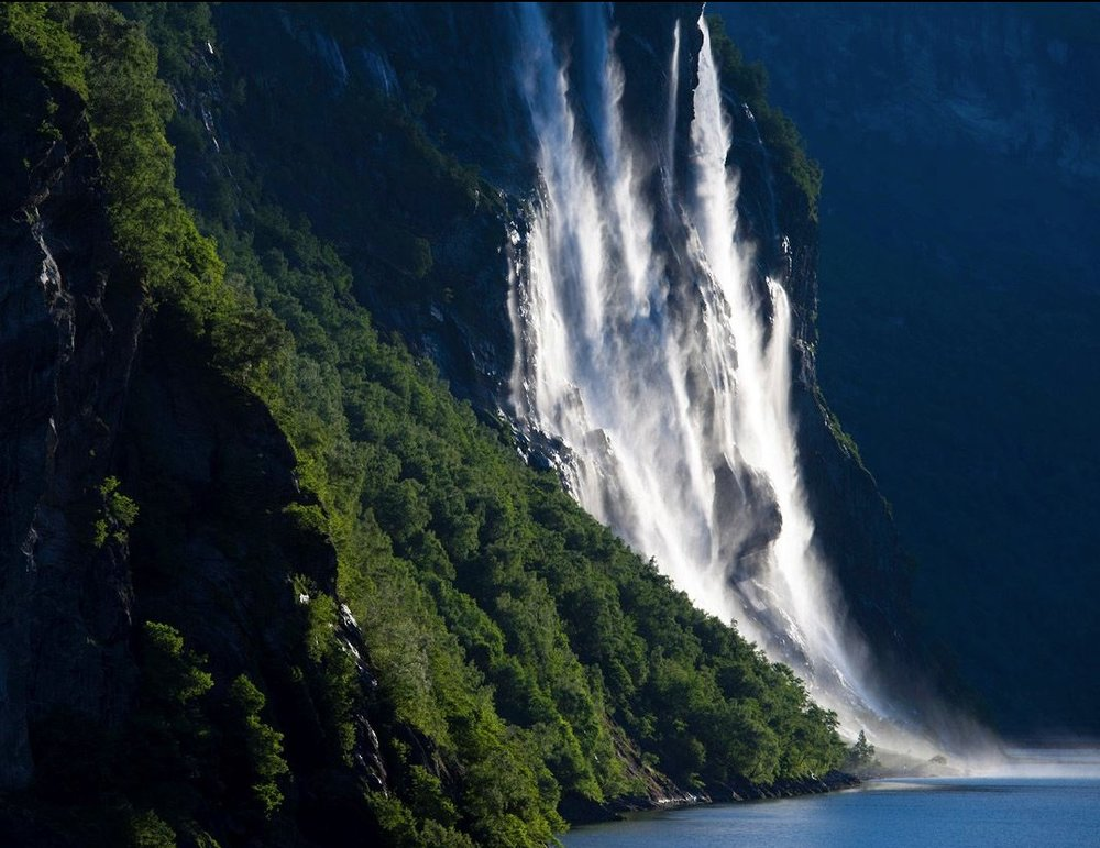 Waterfall along Geiranger Fjord