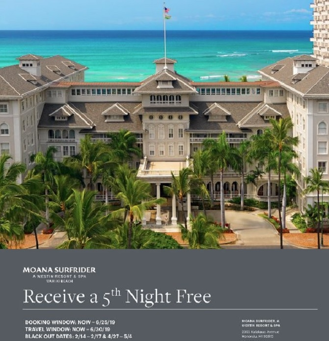 When you book with  Travel Time , you get the 5th night free plus the following amenities:  Daily breakfast for two at The Veranda / $75 resort credit / Moana historical book / Early check-in & Late checkout
