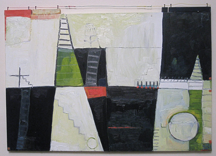 DREAM LANDSCAPE LES #1 sept. 2012 oil on canvas, wood, nails, wire 21%22 x 30%22 .jpg