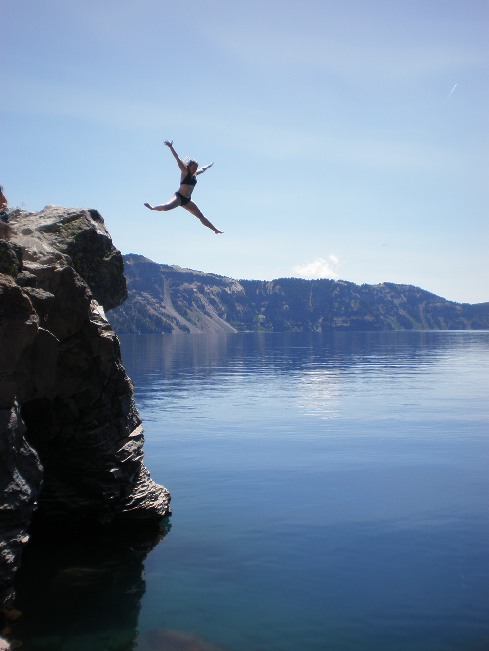 One of my absolute favorite memories: jumping off a cliff into the beautiful, cold waters of Crater Lake.