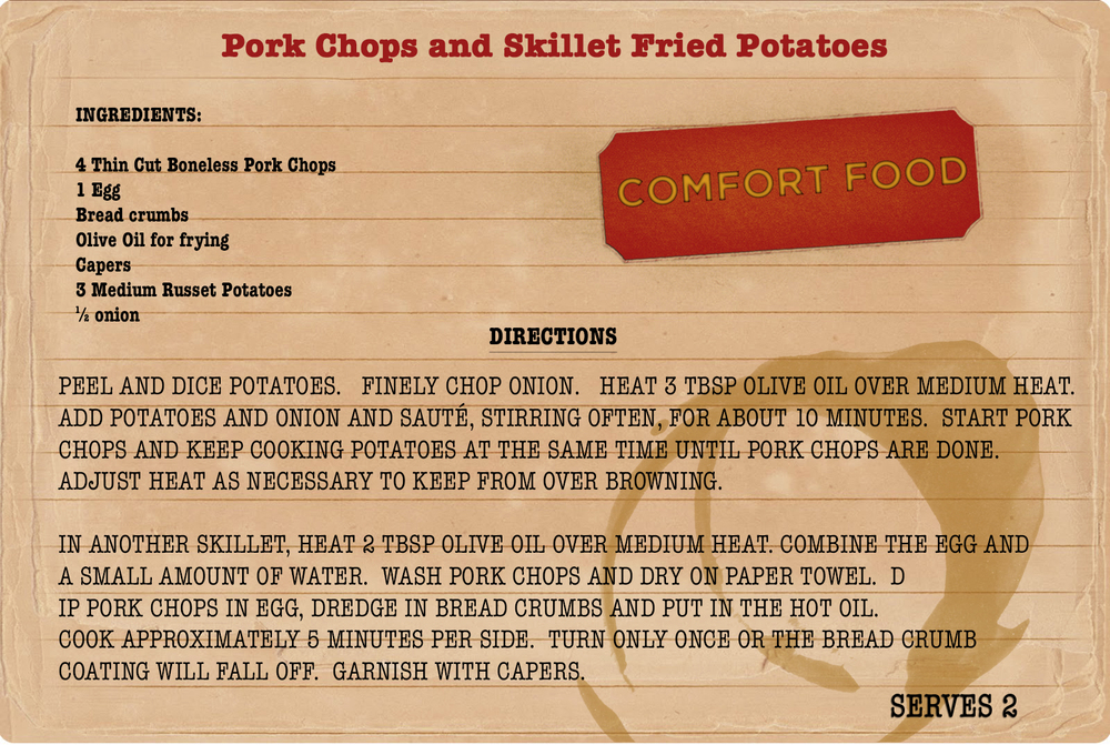 Sunday dinners: college comfort food from My College Advice. Recipe for pork chops and potatoes