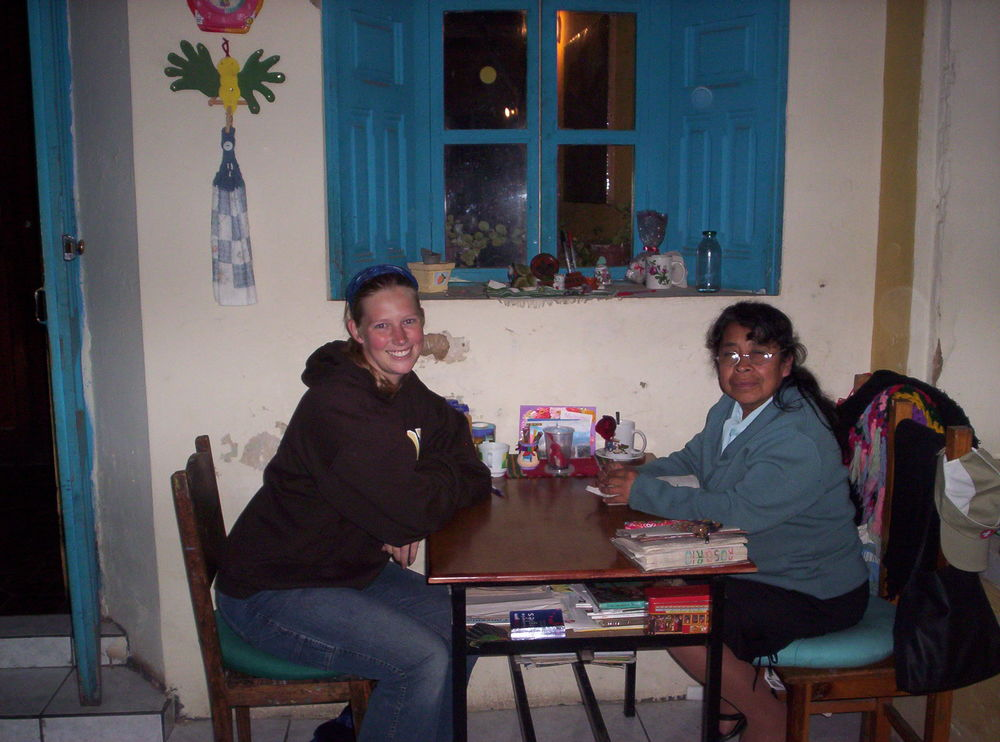 Studying in Guatemala, one-on-one with my Spanish instructor (2007).