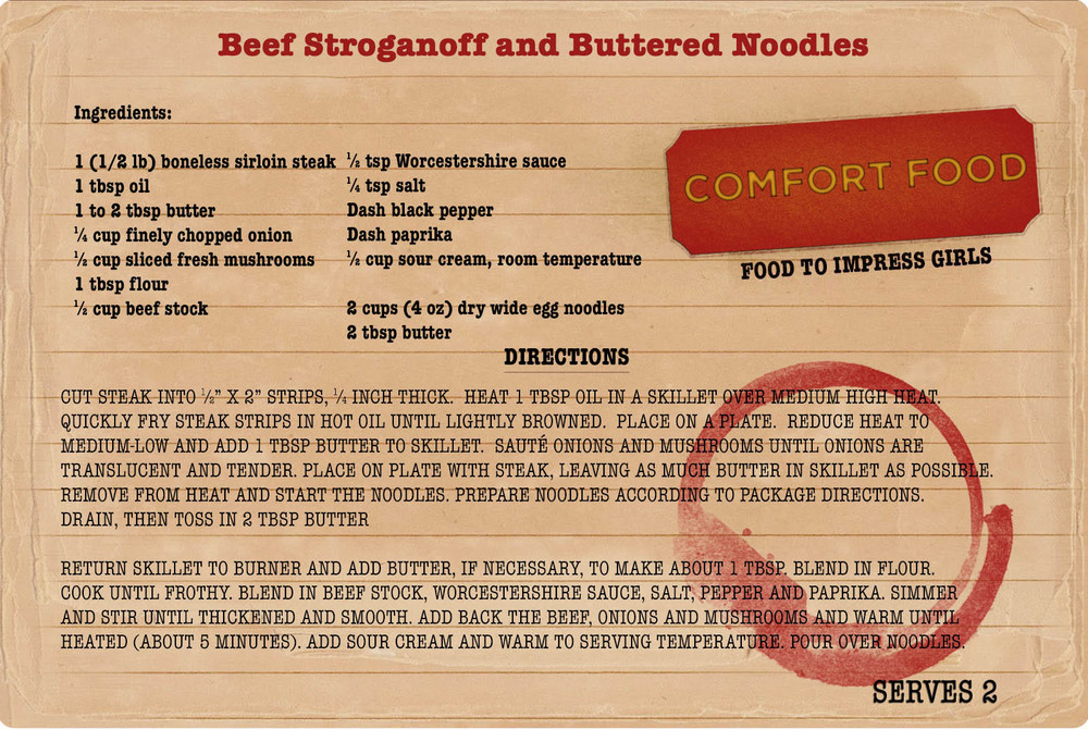 College comfort food recipe for beef stroganoff on My College Advice