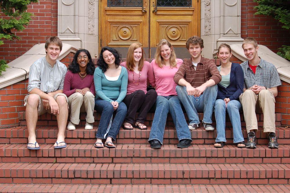My best friends at the University of Oregon, spring of freshman year (Steps of the Honors College, Spring 2007)