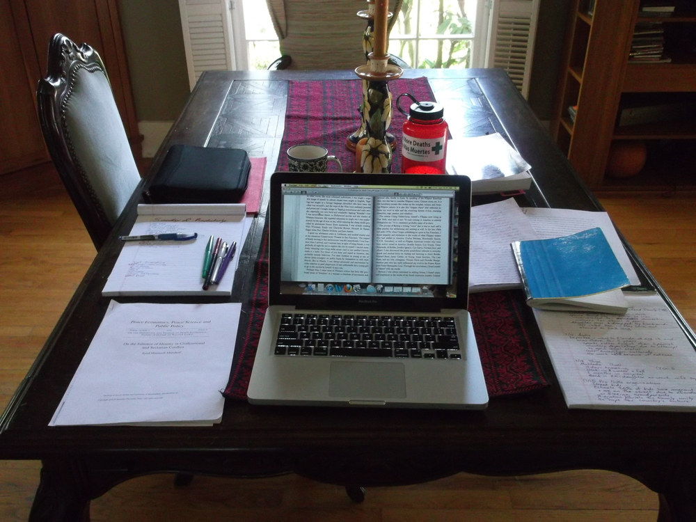 Settling in for an intense essay-writing session.