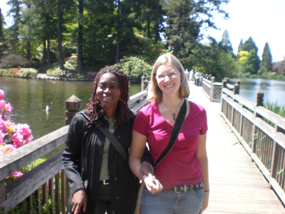 Out for a stroll on a beautiful summer day with Brigit from the Ivory Coast, who I worked with as a sighted guide.