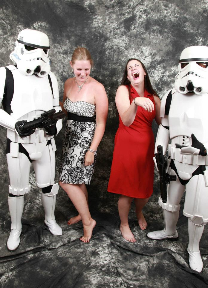 Does college have the droids you're looking for? (Photo taken at my awesome cousin's wedding, with Little Sister apparently having the time of her life...even if the one she's standing next to is a little short for a storm trooper. 2011)