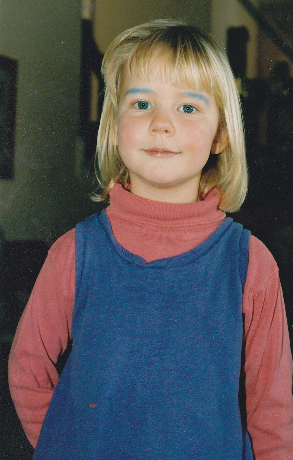 "Me at about five, demonstrating that expectations (i.e. ""I know how makeup works and this will make me look awesome"") do not always match reality."