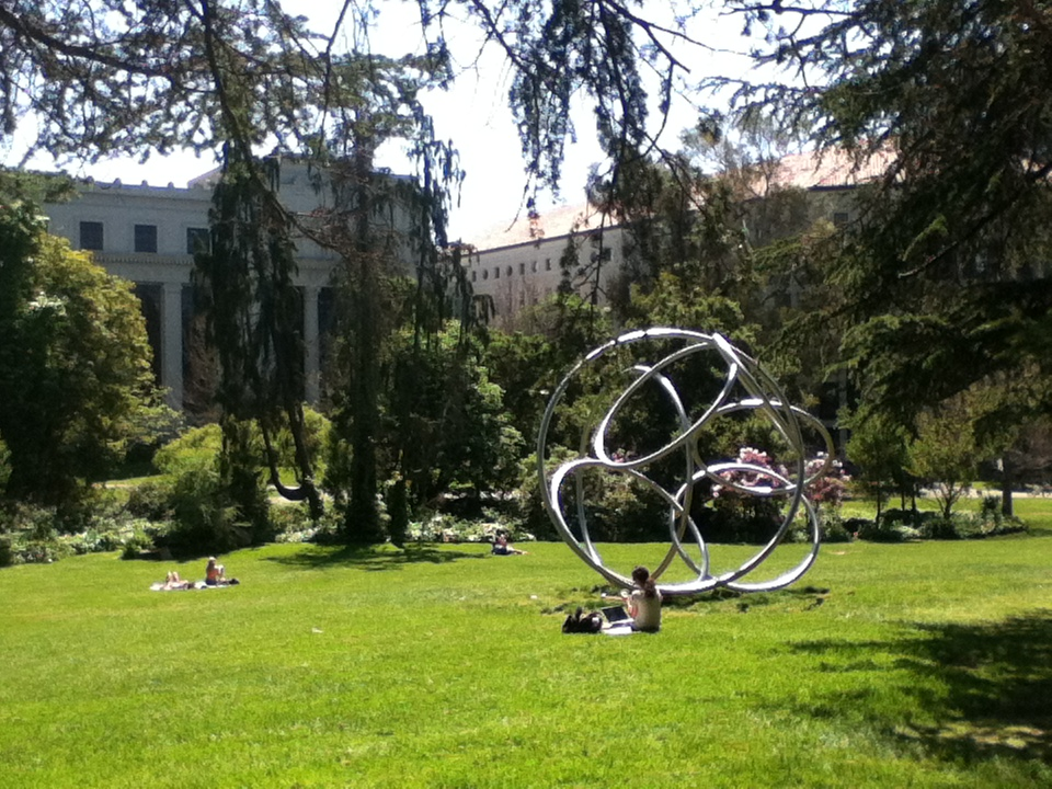 Studying on the Berkeley campus. April 2014