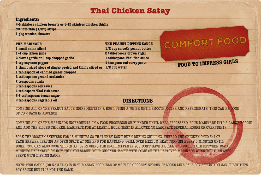 College Comfort Food Recipe: Thai Chicken Satay