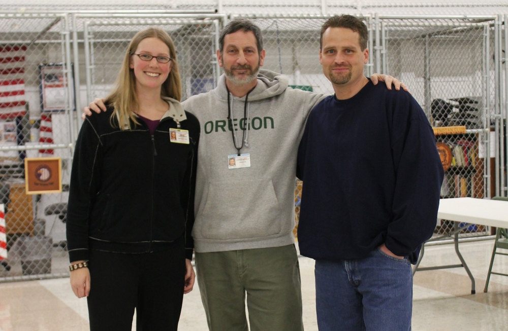 "Photo of teaching team for a prison class in Oregon (me, a professor, and an ""inside"" teaching assistant)"