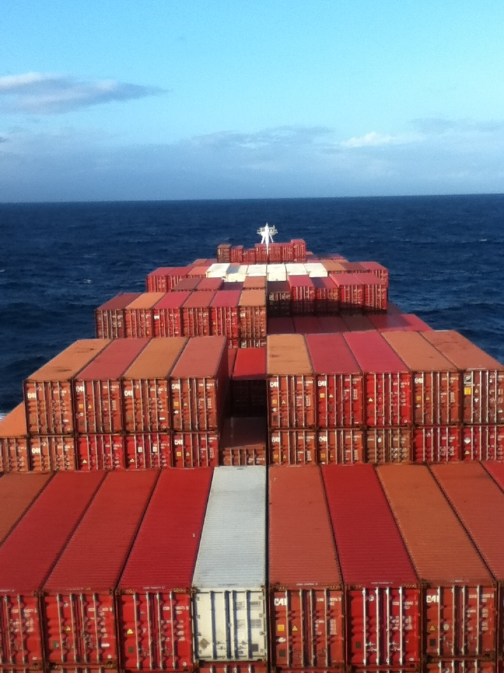 The view of 3,000 containers on board the freighter.