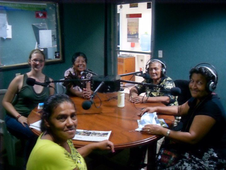 Appearing on local radio with a group of Honduran activists