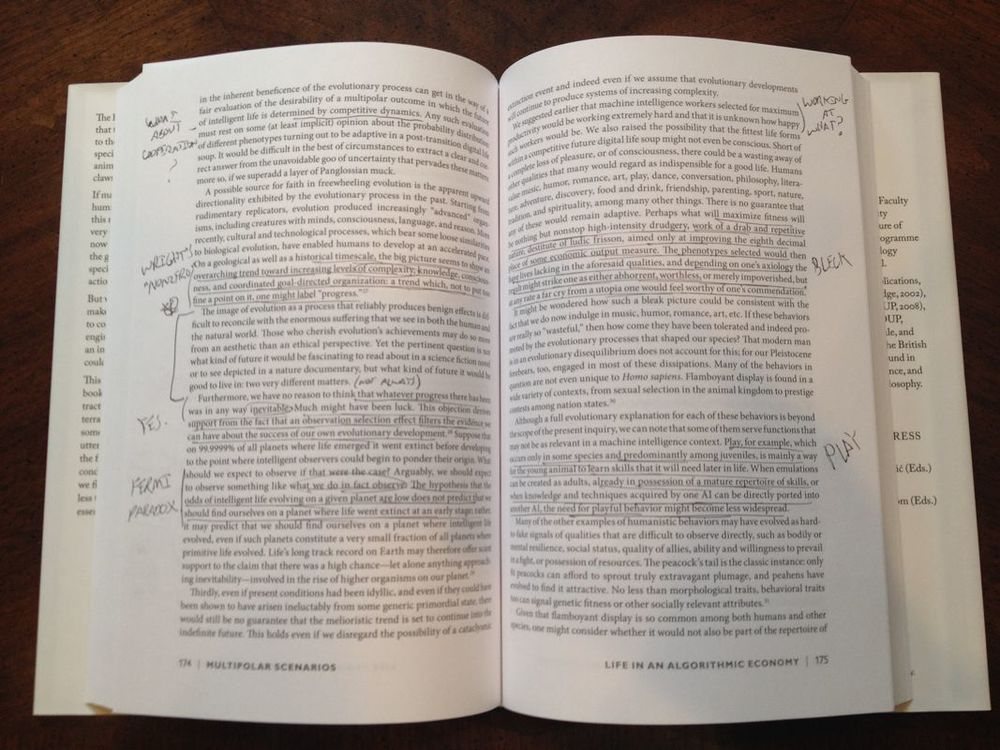 Annotated pages from Nick Bostrom's    Superintelligence