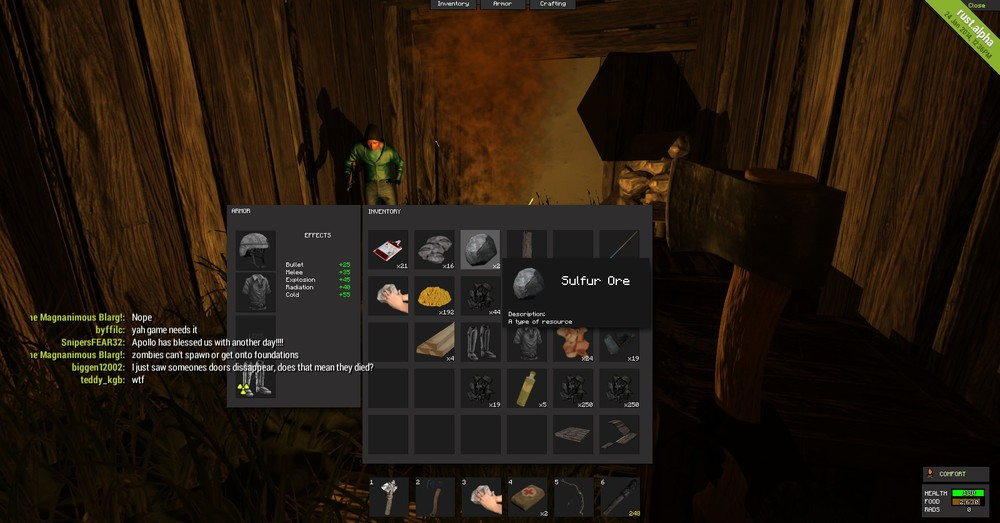 Camping out for the night with my inventory up. I'm wearing kevlar and radiation boots I found. This it looks like to be inside a small hut for the night cooking chicken and smelting ore in my furnace. (That's Cliff in the corner.)