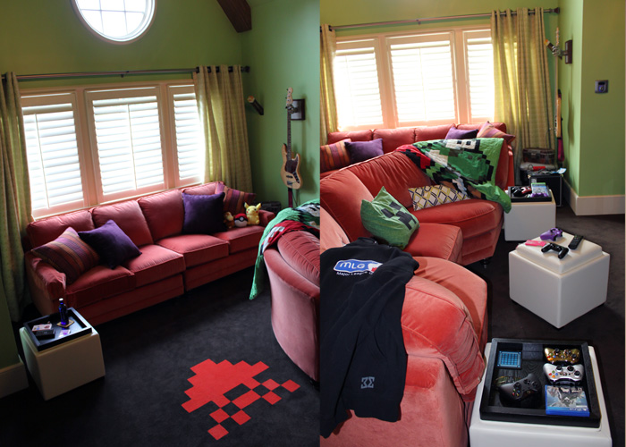LEFT: We have a second couch in the back of the room that we use for hand held gaming. It also has a charging station for the 3DS, iPad and PSVITA.   RIGHT: Got to have a spot for the feet to rest on and blanket+hoodies in case we get a little chilly!