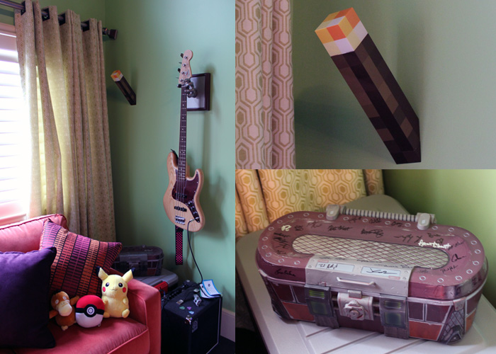 LEFT: Lauren plays bass from time to time. Her little amp setup is there next to second couch.    RIGHT TOP: Minecraft torches! They light up and are battery operated for now. Eventually they will be wired in with the lights switches.    LEFT BOTTOM: An awesome loot crate signed by the entire team from Gearbox who made Borderlands! <3