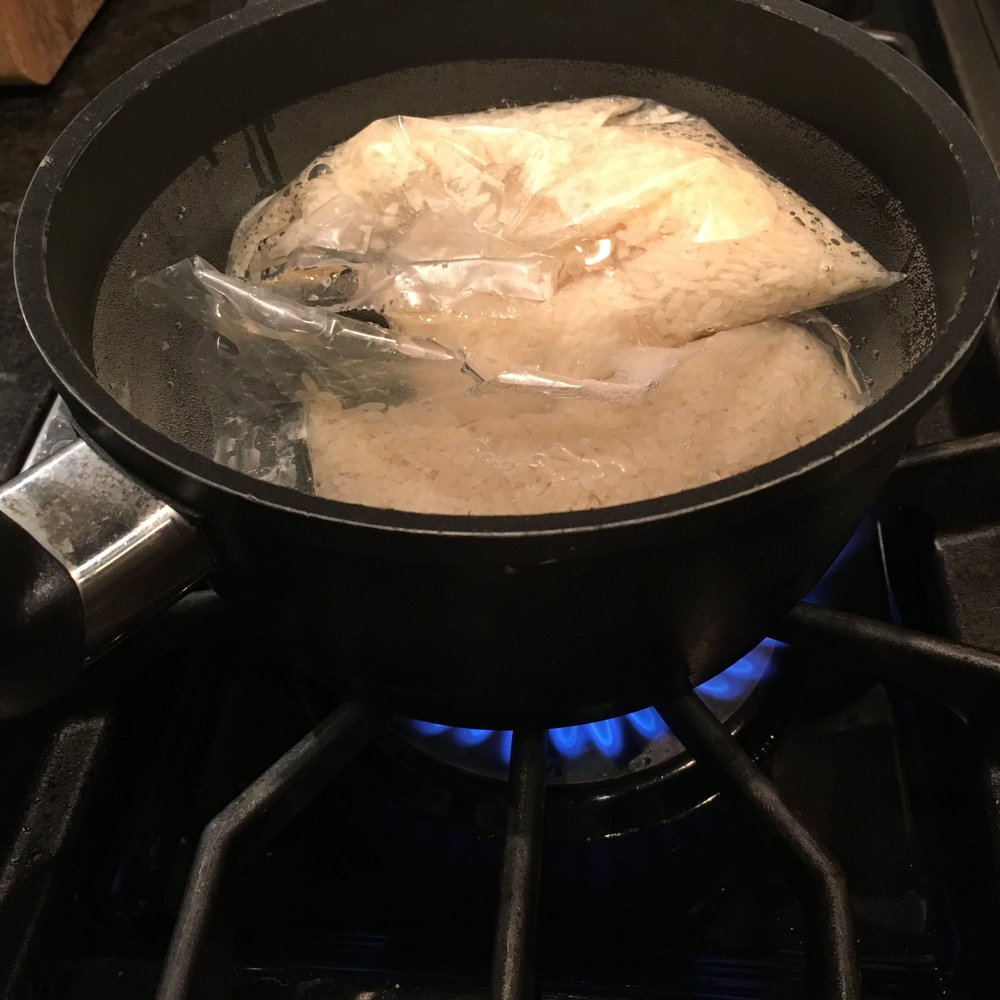 Boiling the rice...