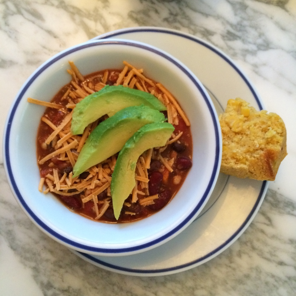 Vegan Chili from Ann Gentry's  Vegan Family Meals,  my #twoweeksvegan bible!