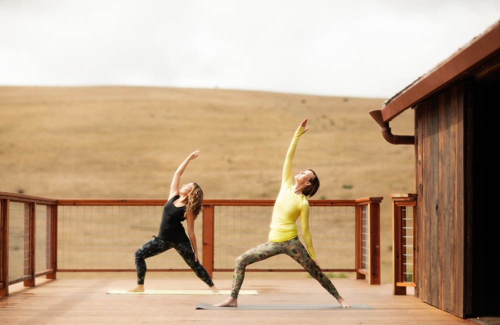 Yoga by the big red barn. Photo:  Julie Mikos Houlihan
