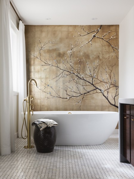 Bathroom with hand painted gold leaf mural in Toronto[450×600]