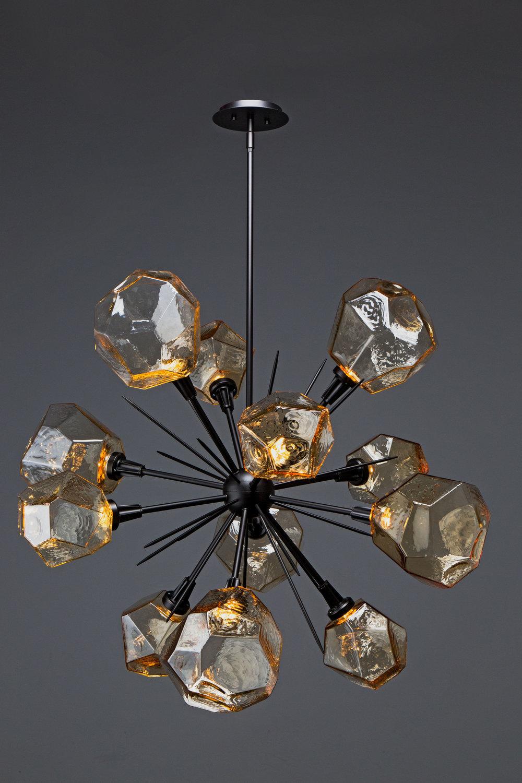 """Gem Starburst Chandelier 38"""" CHB0039-0G in Matte Black and Amber Blown Glass Gems"""